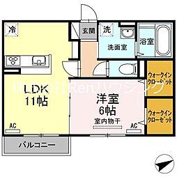 JR高徳線 板野駅 徒歩32分の賃貸アパート 1階1LDKの間取り