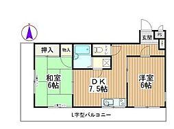 サンコート小川[203号室]の間取り