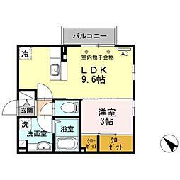 J-house エクセレント 2階1LDKの間取り