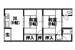 御屋敷荘[1-B号室]の間取り