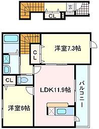 兵庫県明石市魚住町中尾1丁目の賃貸アパートの間取り