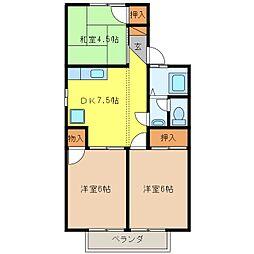 ソフィート箱清水B棟[1階]の間取り