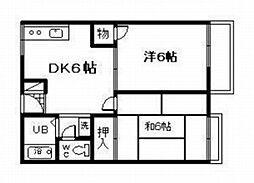 ハピネスニシムラ[2階]の間取り