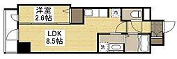岡山電気軌道清輝橋線 東中央町駅 徒歩6分の賃貸マンション 2階1LDKの間取り