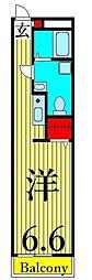 キャスバルクオーレ田端 4階ワンルームの間取り