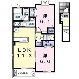 ルミナス A 2階2LDKの間取り