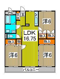 パームハイツII[1階]の間取り