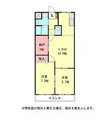愛知県一宮市光明寺字本堕落の賃貸アパートの間取り