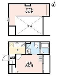 大阪府堺市堺区香ヶ丘町2丁の賃貸アパートの間取り