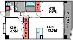 福岡県福岡市東区土井2丁目の賃貸マンションの間取り
