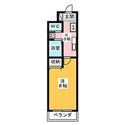 A-city港本宮 4階1Kの間取り
