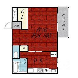 サンメゾンXIII[1階]の間取り
