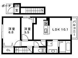 阪急神戸線 御影駅 2階建[2階]の間取り