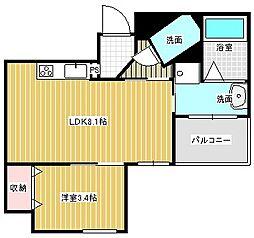 名古屋市営東山線 本山駅 徒歩6分の賃貸マンション 2階1LDKの間取り