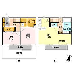 [テラスハウス] 千葉県柏市大室2丁目 の賃貸【/】の間取り