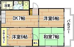 広島県広島市中区南千田西町の賃貸マンションの間取り