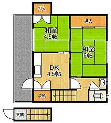 東鳴尾アパート[203号室]の間取り