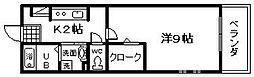 大阪府岸和田市上野町西の賃貸アパートの間取り