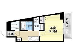 Blue福島 7階1Kの間取り
