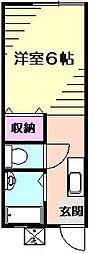 コーポ草風A[1階]の間取り