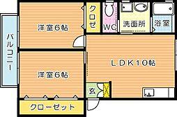 リゾーム宇未II[1階]の間取り