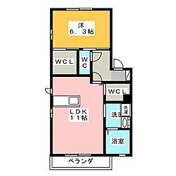 ロックガーデンB棟[1階]の間取り