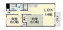 大阪府高石市東羽衣5丁目の賃貸マンションの間取り