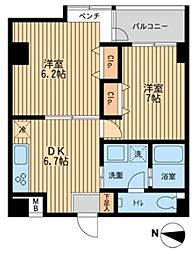 東京都江戸川区平井7丁目の賃貸マンションの間取り