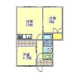 北海道室蘭市緑町の賃貸アパートの間取り