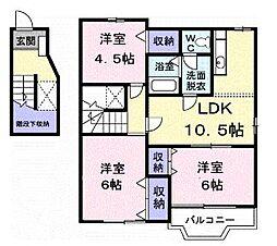香川県丸亀市飯山町東坂元の賃貸アパートの間取り