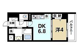 インフィニティ 5階1DKの間取り