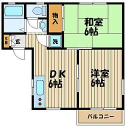 東京都府中市本宿町2丁目の賃貸アパートの間取り