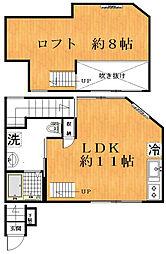 京王線 笹塚駅 徒歩4分の賃貸アパート 2階ワンルームの間取り