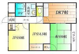 松村第一マンション[2階]の間取り