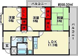 福岡県春日市昇町5丁目の賃貸マンションの間取り