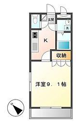 鹿児島県霧島市溝辺町麓の賃貸アパート 1階1Kの間取り
