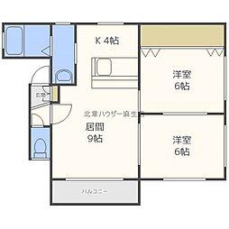 屯田3−8アパート[2階]の間取り