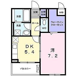 長野西アパートB[0203号室]の間取り