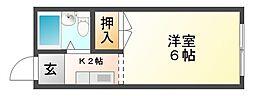 岡山県岡山市北区谷万成1丁目の賃貸アパートの間取り