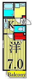 東京メトロ日比谷線 三ノ輪駅 徒歩13分の賃貸アパート 1階1Kの間取り