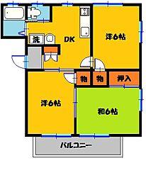 栃木県宇都宮市若松原1丁目の賃貸アパートの間取り
