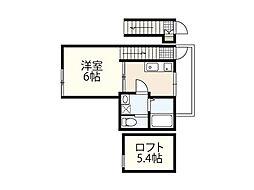 JR山陽本線 五日市駅 徒歩20分の賃貸アパート 2階1Kの間取り