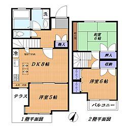 [テラスハウス] 神奈川県横浜市青葉区美しが丘5丁目 の賃貸【神奈川県 / 横浜市青葉区】の間取り