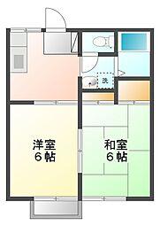 コスモ土浦[2F(角) 207号室]の間取り