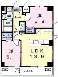 東京都立川市西砂町3丁目の賃貸マンションの間取り