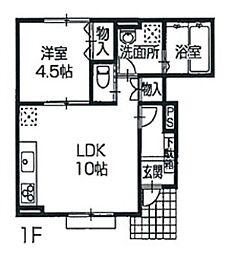 兵庫県姫路市広畑区吾妻町2丁目の賃貸アパートの間取り