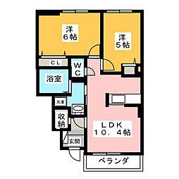 静岡県静岡市清水区石川本町の賃貸アパートの間取り