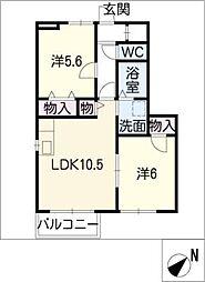 岐阜県羽島市正木町曲利の賃貸アパートの間取り