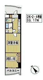福岡県福岡市中央区清川1の賃貸マンションの間取り