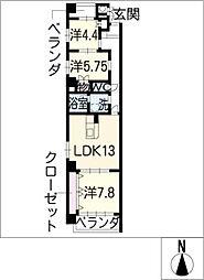 ツインメゾン札木[5階]の間取り